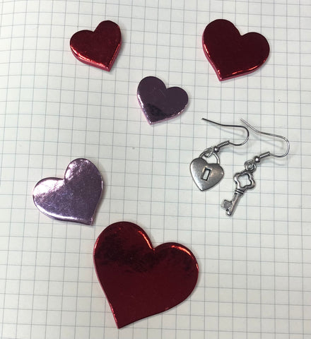 Heart Lock and Key Charm Earrings