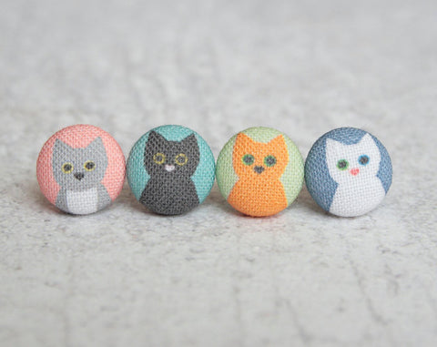 Cat Lady Mix and Match Cloth Button Earrings