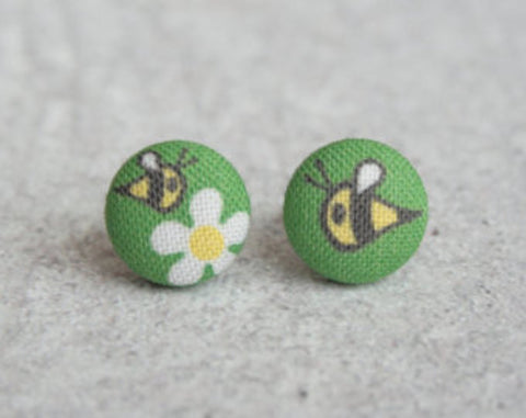 Busy Bee Cloth Button Earrings