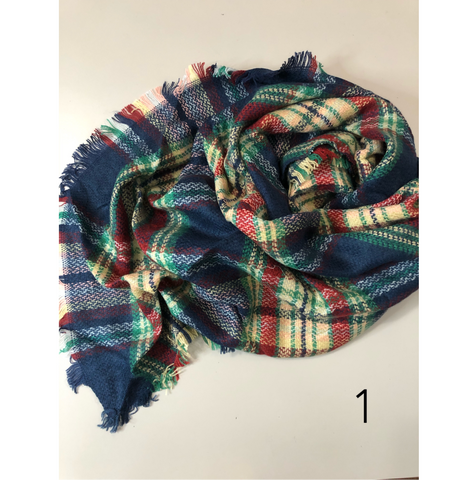 Plaid Triangle Scarves - Assorted Colours
