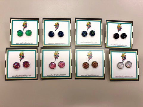 Druzy Round Studs - assorted colours