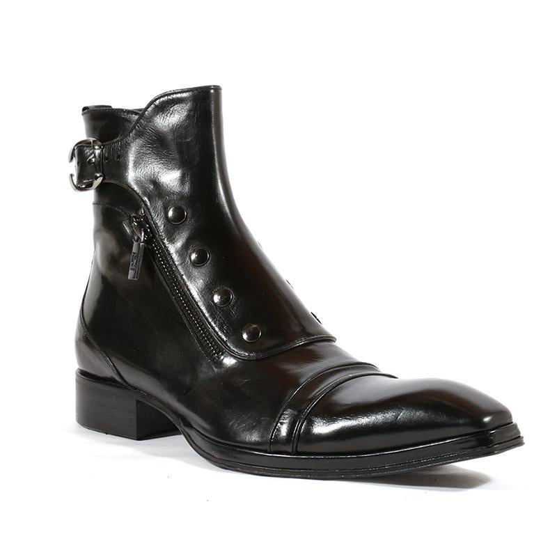 Gentlemen Button Side Zipper Ankle Boots For Men