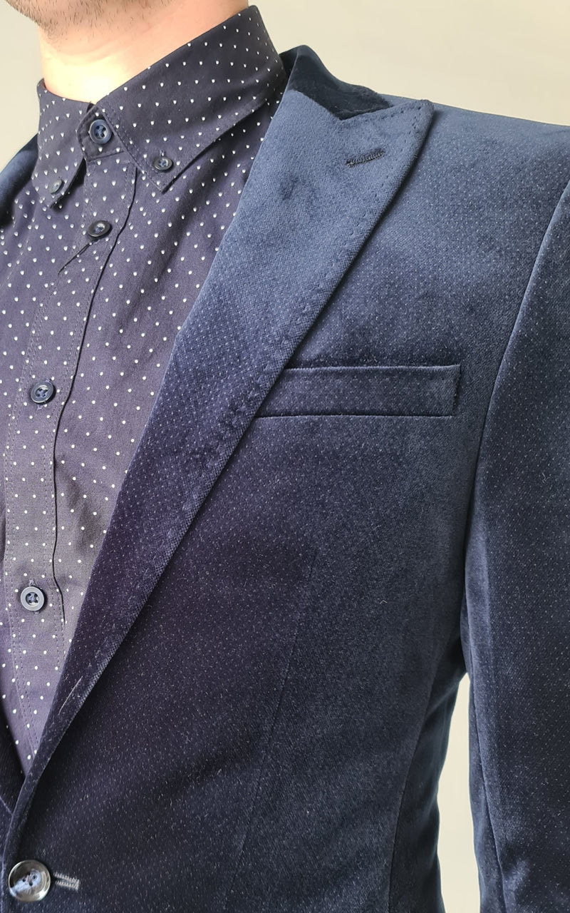 Herbie Frogg Velvet Mayfair Navy Blazer