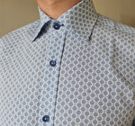 Herbie Frogg White/Blue Geo Tapered fit shirt