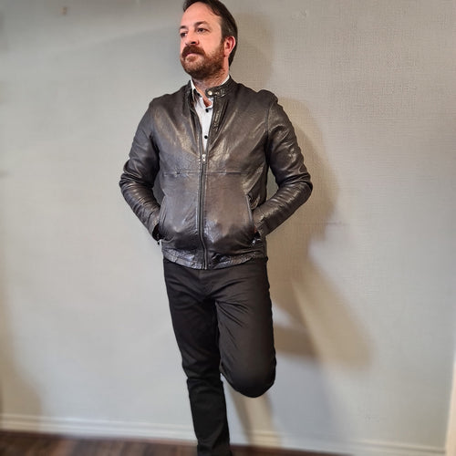 Tailored Originals Charcoal Leather Jacket