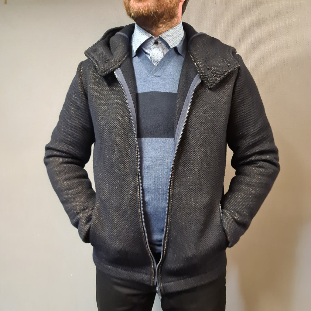 Markup Navy Woven Hooded Jackey