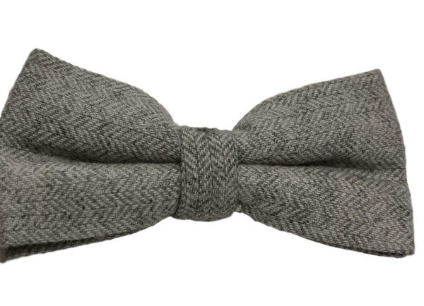 Grey Herringbone Bow Tie