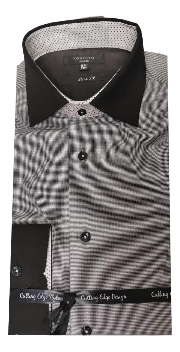 Roberto Black Check Shirt