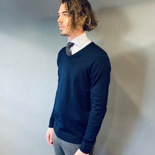 Selected Homme Tower Navy Merino Cardigan