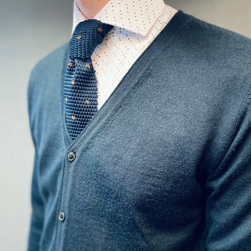 Selected Homme Thom Navy Merino Cardigan