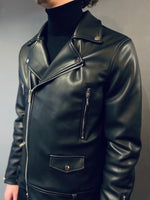 Markup Black Leather Biker Jacket