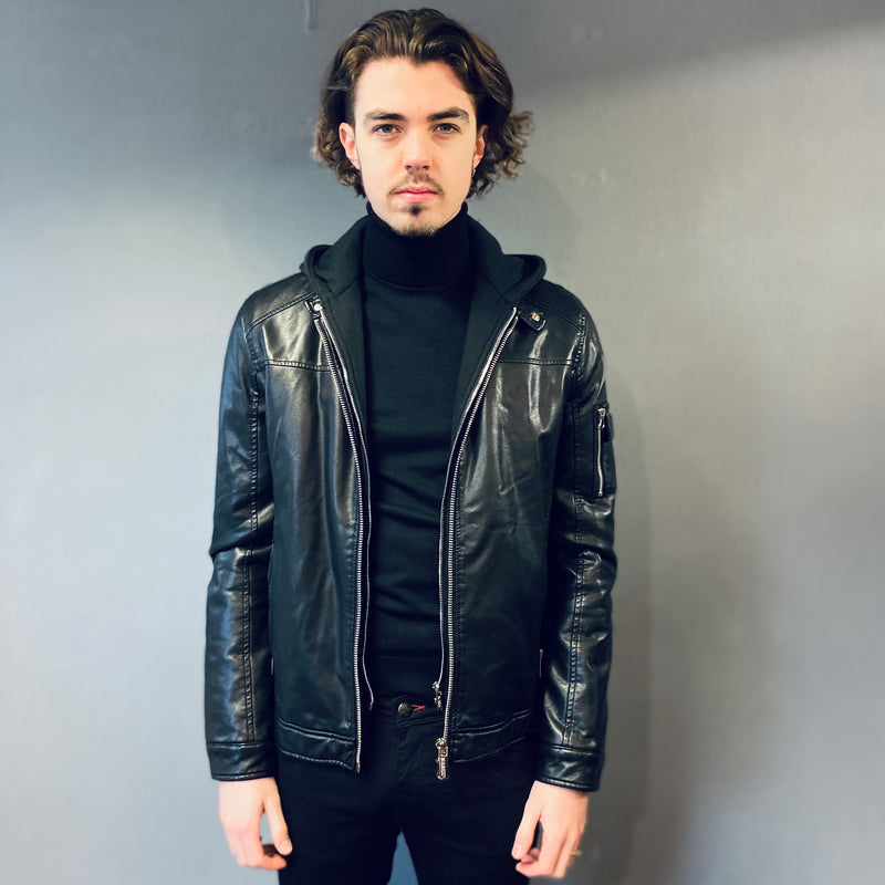 Markup Black Leather Jacket/Hoodie combo