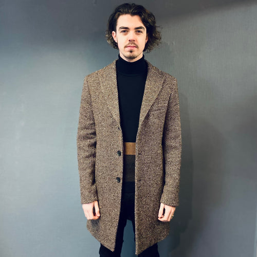 Markup Brown Woven Peak Lapel Overcoat