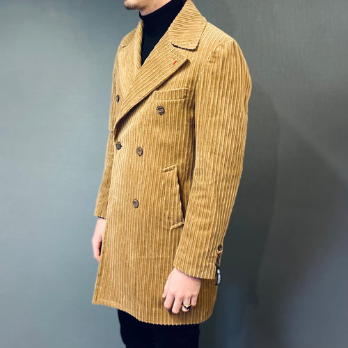 Mulish Double Breasted Peak Lappel Corduroy Overcoat