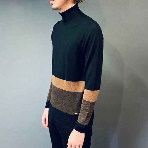 Markup Black Tan Knit Rollneck