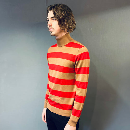 Markup Tan Red Knit Stripe Rollneck