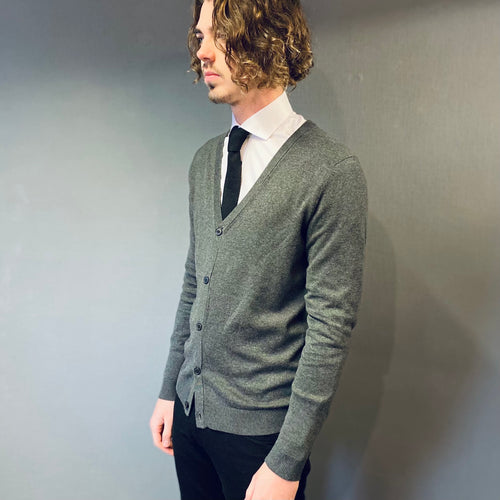 Selected Homme Grey Cotton/Silk Cardigan