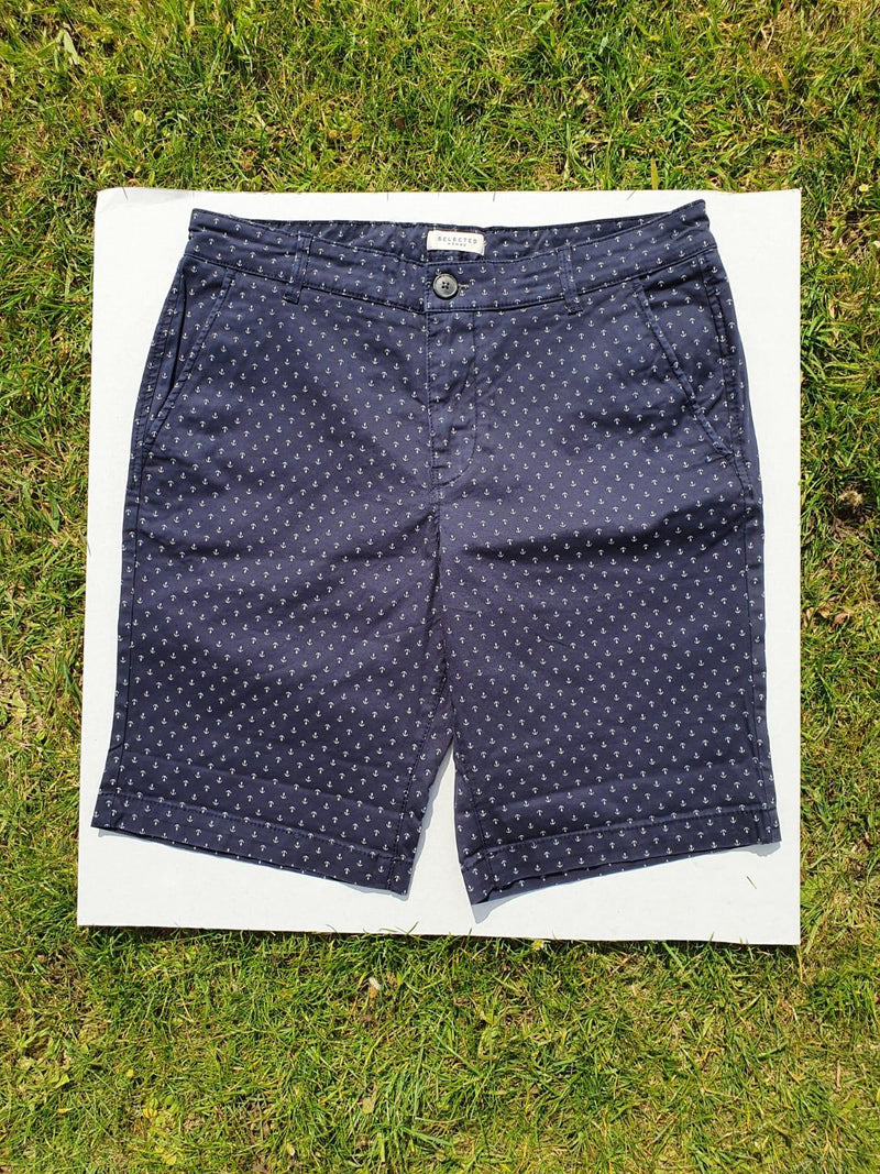 Selected Homme Shorts Navy Anchor Print