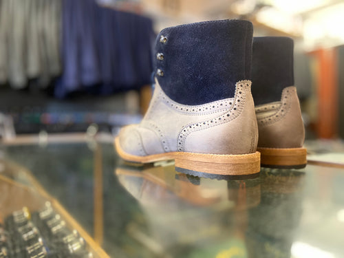 Lacuzzo Grey Nubuck Brogue Boot