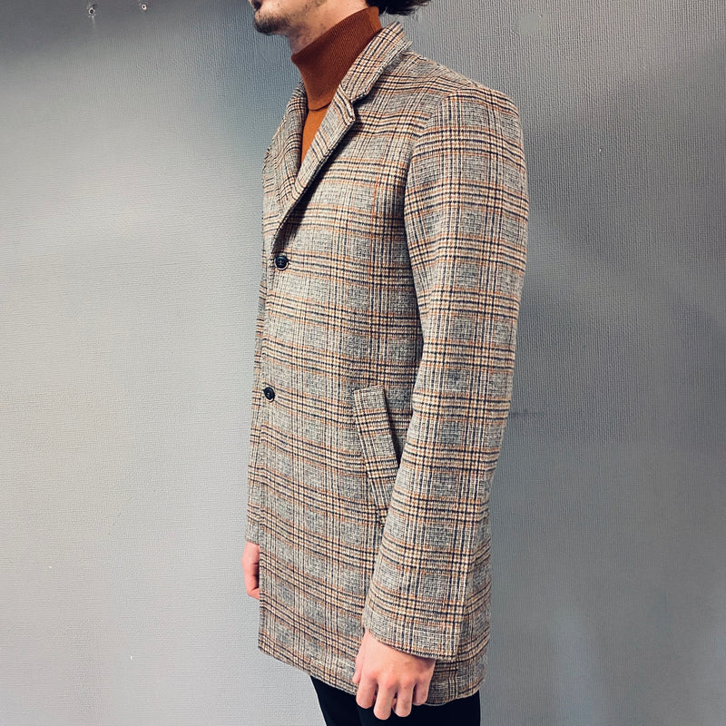 Petrol Industries Orange Checked Overcoat