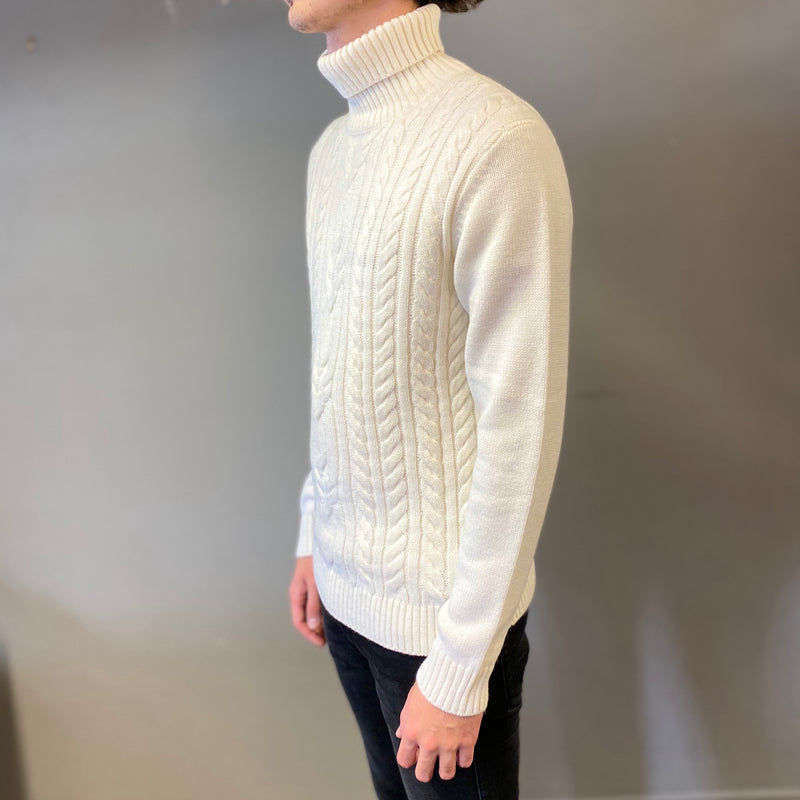 Markup Cream Trecce Davanti Knit Rollneck