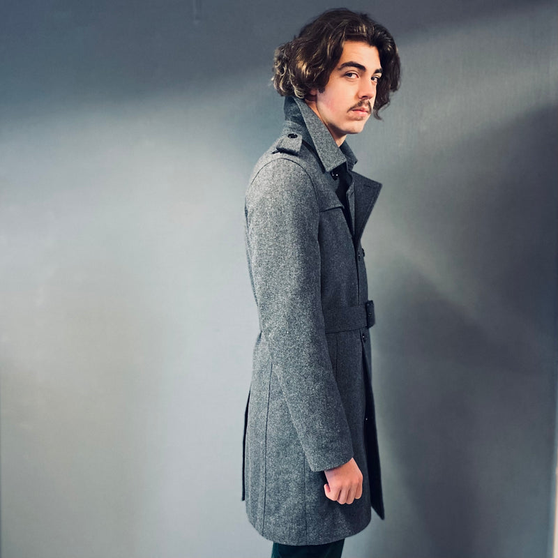 Markup Grey Double Breasted Belted Mac