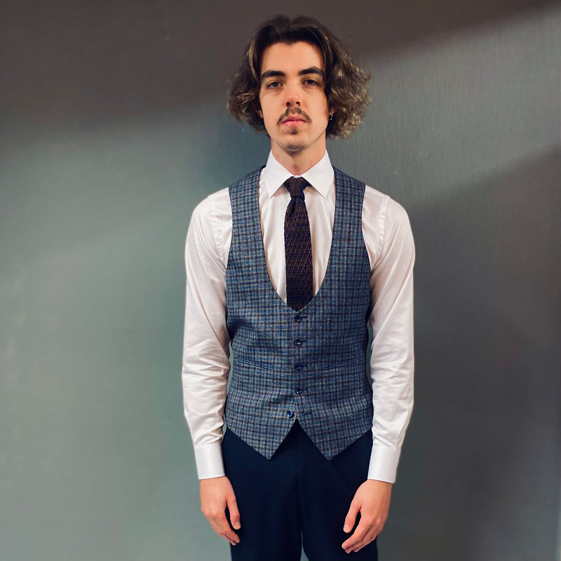 Torre Gilson Scoop Blue Brown Check Waistcoat