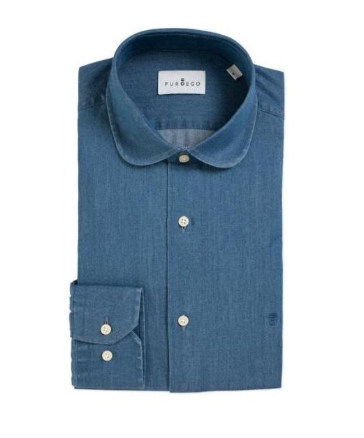 PUROEGO CLUB COLLAR DENIM SHIRT