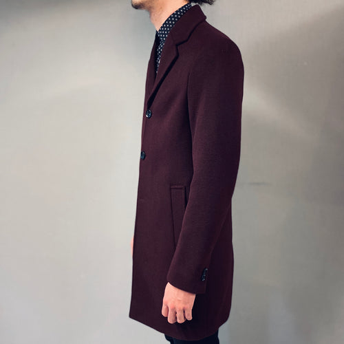 !Solid Switch Wine Overcoat