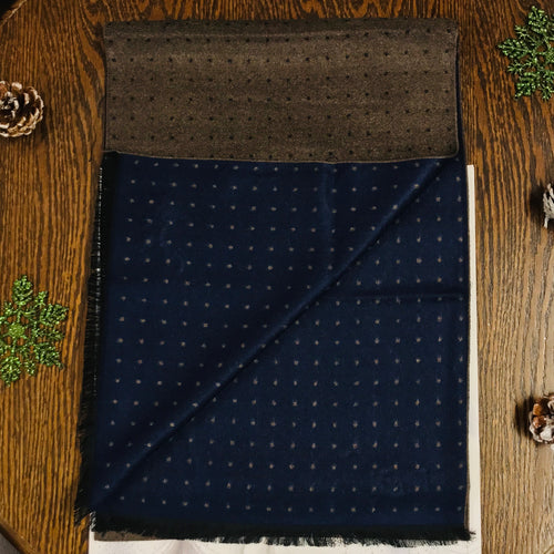 White Label Viscose Brown Navy polka scarf