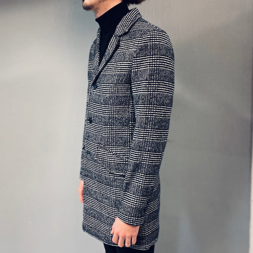 !Solid Overcoat Black Check