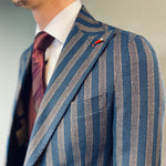 Mulish Blazer Fiat Brown/Navy Stripe Peak Lapel
