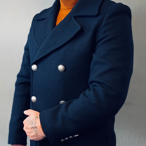 Markup Navy Double Breasted Peacoat