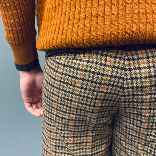 Selected Homme Slim Special Brown Houndstooth Pants
