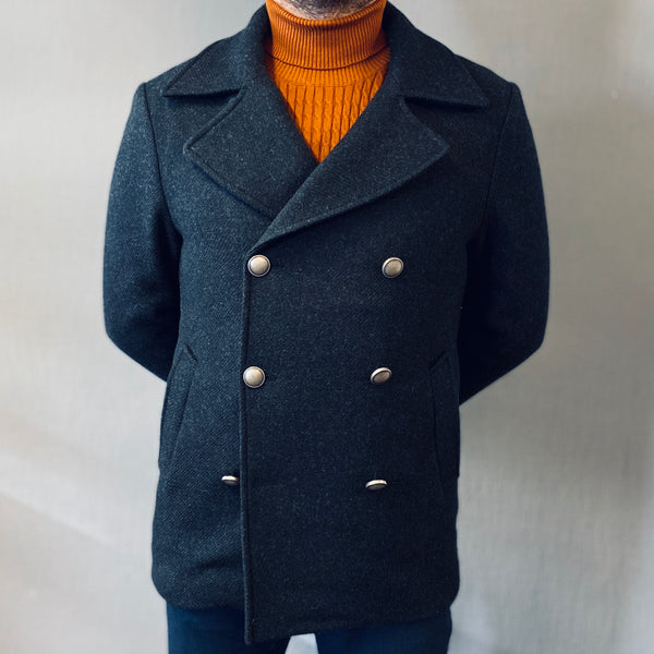 Markup Dark Grey Double Breasted Peacoat