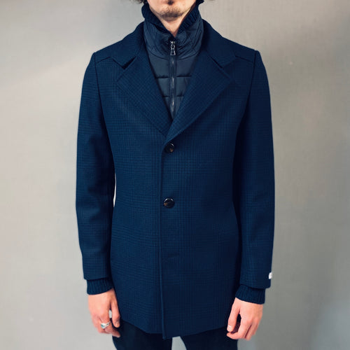 White Label Navy Walker Houndstooth Overcoat