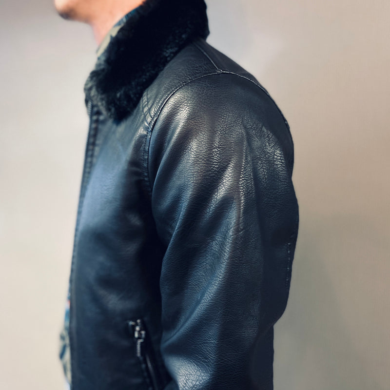 Markup Giubbino Black Leather Flight  Jacket