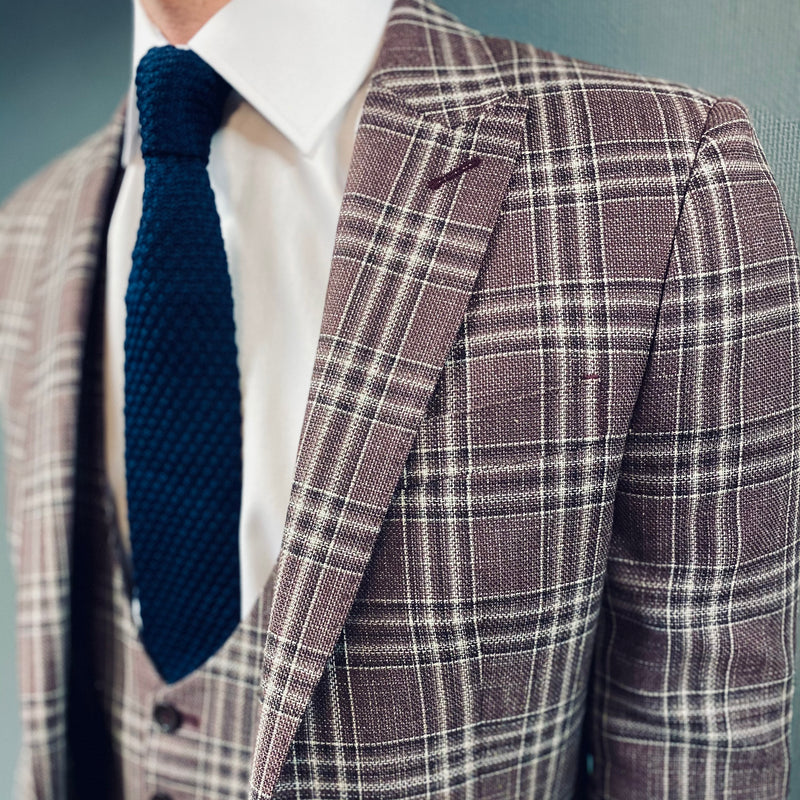 Torre Bruny Burgundy Check Blazer