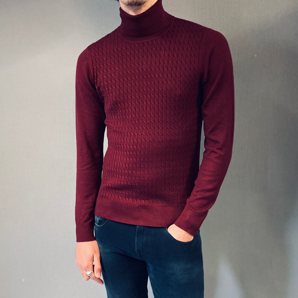 Markup Wine Cable Knit Roll Neck