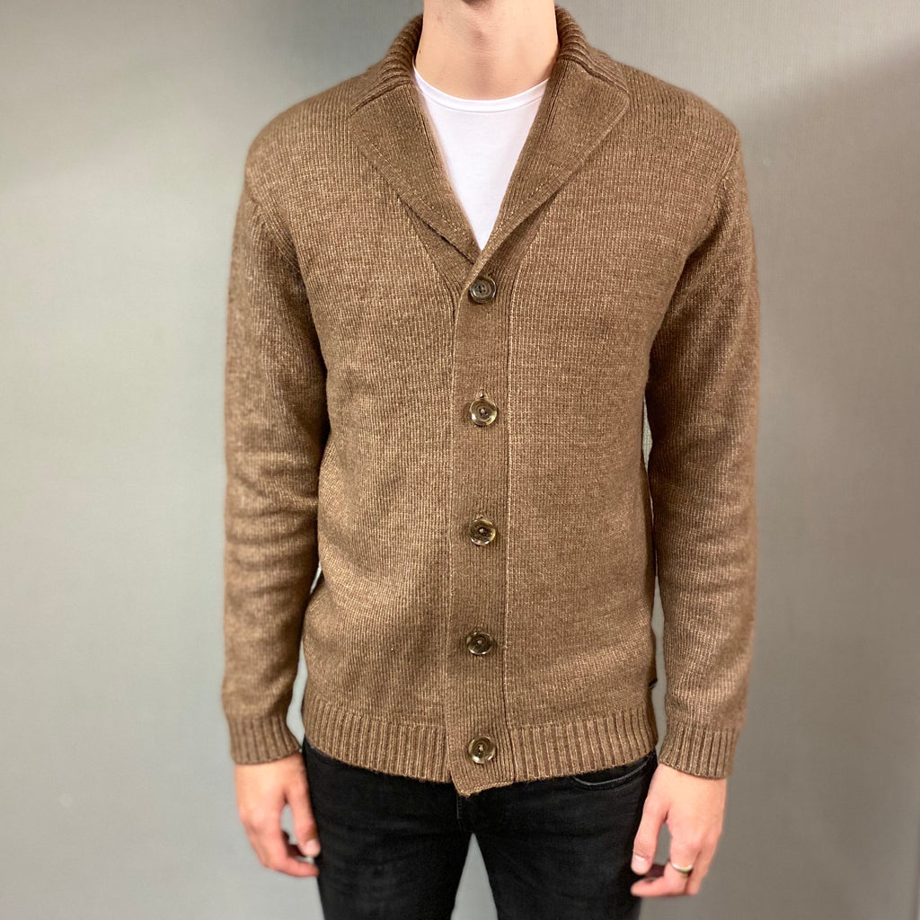 Markup Brown Collo Sciallato Knit Cardigan