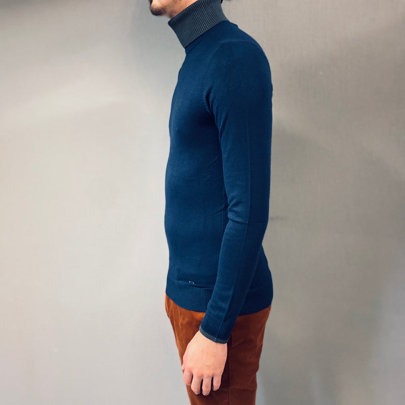 Petrol Two Tone Roll Neck