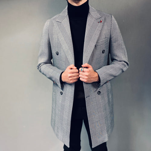 Mulish Checked Double Breasted Overcoat