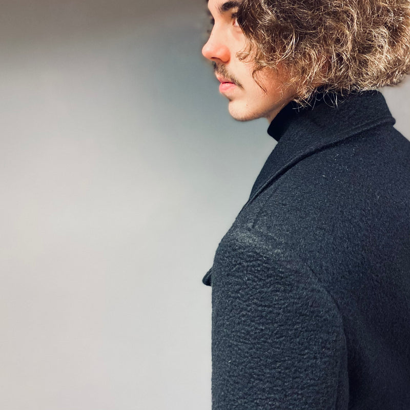 Markup Black Wool Double Breasted Overcoat