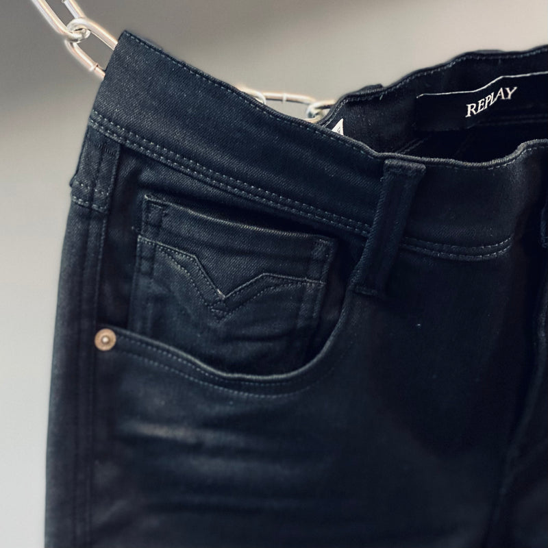 Replay Slim Fit Hyperflex Re-Used Anbass Black Jeans