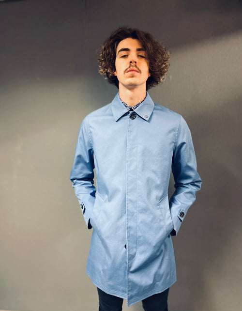Peter Werth Twyford Blue Cotton Mac
