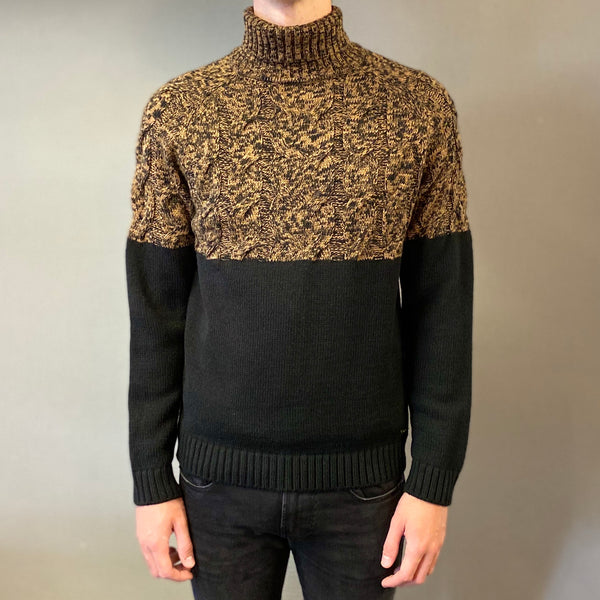 Markup Black Trecce Petto Knit Rollneck