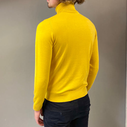 Markup Yellow Cable Knit Roll Neck