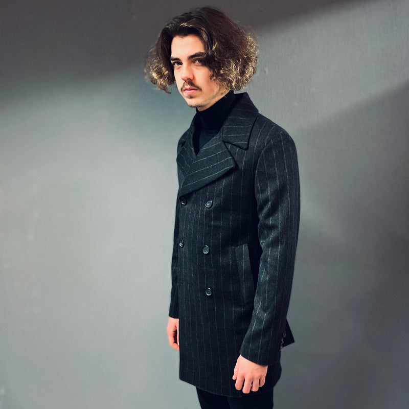 Markup Charcoal Pinstripe Double Breasted Jacket
