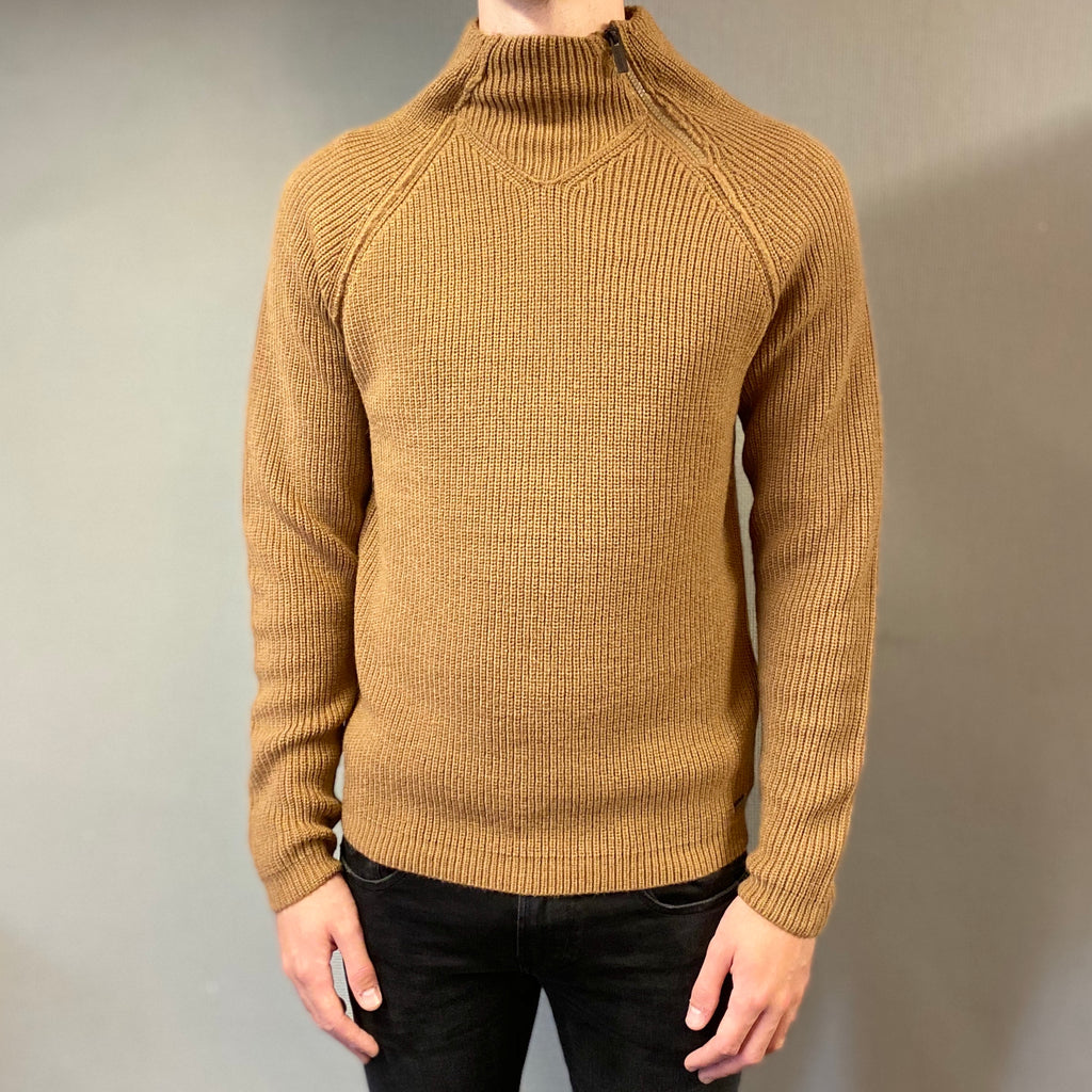 Markup Brown Lupetto Zip Laterale Knit