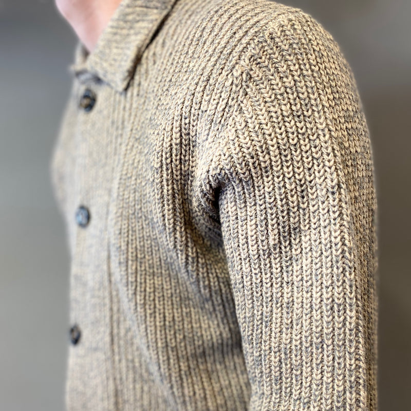 Markup Beige Grey Bottoni A Coste Cardigan